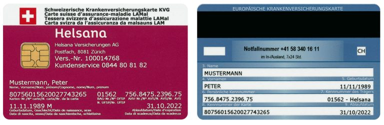 Front and reverse side of an insurance card for compulsory health insurance.